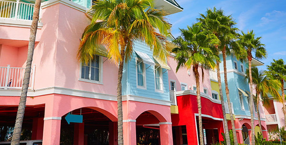 Colorful blue & pink buildings in Fort Myers Florida