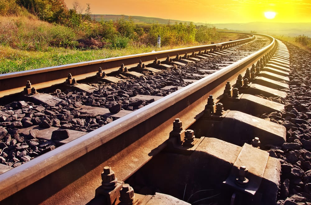 Railroad tracks at sunset on the Wabash Cannonball Trail in Whitehouse Ohio