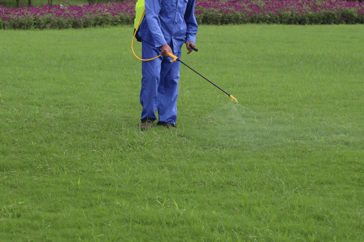 Professional Land-Art lawn technician treating a lawn in Oregon OH as a part of a customized lawn care program